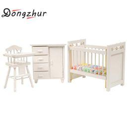 Wholesale Wood Bedroom Furniture - Wholesale-3pcs set Dongzhur Bedroom Furniture Wooden Crib Bed Baby Chair Cabinet 1:12 Scale Dollhouse Miniatures Kids DIY Doll House