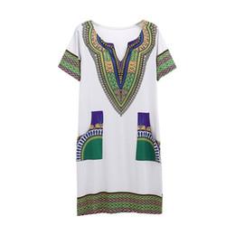 Короткие плотные стили одежды онлайн-Плотный этнический стиль печати платье горячие продажи V-образным вырезом женщин новые моды с коротким рукавом повседневные платья Бесплатная доставка