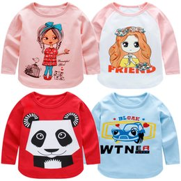 Wholesale Korean Girl Jackets - 2018 children's pure cotton T-shirt boys Leica long-sleeved girl's jacket Korean version cartoon bodywear