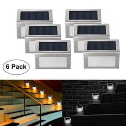 rostfreies helles gartenlicht Rabatt Solar Treppenlicht Outdoor LED Stufenbeleuchtung 2 LEDs Edelstahl für Stufenwege Terrassendecks 6er Pack