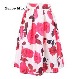 2019 flor midi saias Vintage Grande Flor Rosa Imprime Toultou Midi Saias Das Mulheres 2017 de Cintura Alta vestido de Baile Saia Midi Saias Faldas desconto flor midi saias