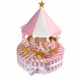 Карусель подарки на день рождения онлайн-Карусель бумага подарочная коробка свадебные сувениры и подарки Единорог партия душа ребенка конфеты коробка день рождения украшения дети