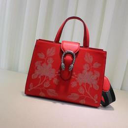 Wholesale Genuine Leather Handbags China - China red Luxury bag Fashion brand designer handbags Women Totes Shoulder bag Size 32*26*15 cm model 444073