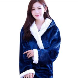 Wholesale Flannel Nightgowns Women - Warm Winter Hooded Bathrobe Female Thicken Flannel Pajamas Couples Bathrobes Kimono Dressing Gown Nightgown Robes For Women Men