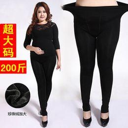 dicke, füßige leggings Rabatt 2018 Herbstmode Frauen Explosionen Fett MM plus Samt dicke warme Hosen Größe hohe Taille Leggings Bleistift Hosen Füße Hosen