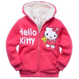 278baa563 Baby Girls Cartoon Pirnted Hello Kitty Winter coat children's outerwear  girls cotton thick warm hooded jacket kids clothes