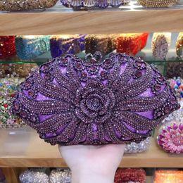 Monederos de diamante morado online-XIYUAN lady Gold / silver / purple Crystal diamond Bolsos de noche Estuche rígido de embrague Estuche de metal para cóctel de bodas Bolso nupcial de diamantes