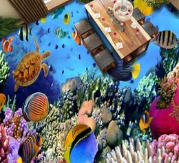 Wholesale mural definition - Three-dimensional high-definition sea floor marine fish floor tiles window mural wallpaper