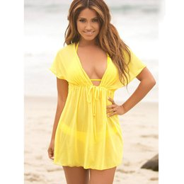 de98fdf3d93b1 Sexy Women Loose Beach Sarongs Wear Lace Cover Up Sleeveless Bikini Deep V-neck  Women Bathing Suit Covers Up Beach Tunic Dress