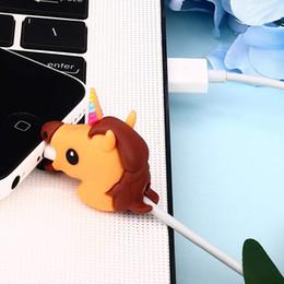 2019 bonecas de desenhos animados de fotos Protetor de cabo de mordida de unicórnio atacado para iphone 7 6 8 x proteção de linha de dados usb boneca mordida de animais cabo acessório organizador
