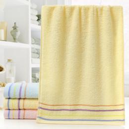 Asciugamani a strisce calde, asciugamani assorbenti in puro cotone, biancheria per la casa per adulti da piume rosa pavone fornitori