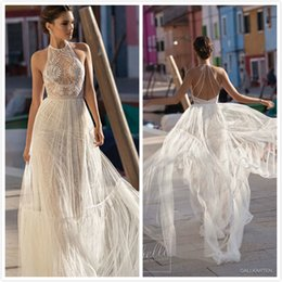 Wholesale Wedding Dress Detachable Halter Strap - Gali karten Cheap 2018 Wedding Dress With Detachable Skirt Halter Lace Tulle Applique Sweep Train Boho Wedding Dress Illusion Plus Size Gown