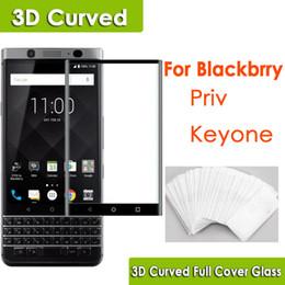 3D Kavisli Tam Kapak üzerinde Blackberry Priv Anahtar için Temperli Cam Telefon ekran koruyucu dhl opp torba içinde ücretsiz kargo nereden böğürtlen için ekran koruyucular tedarikçiler