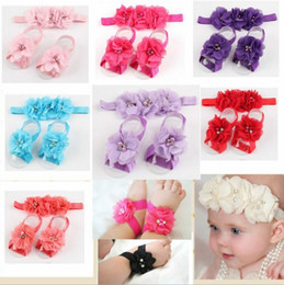 Wholesale Baby Barefoot Sandals Headband - colourful foot flower barefoot sandals+headband set for baby infant girls toddler baby girls flower headbands foot flower hair band set