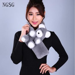 Wholesale Muffler Scarf Solid - NGSG 75cm Fur Animal Scarf For Women Winter Cute Rex Rabbit Bear Solid Pompom Muffler Scarves Children Neck Warm Ring Unisex
