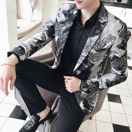 blazers patterns Promo Codes - Blazer Male New British Fashion Urban Style Plus Size Youth Slim Fit Blazer Black Pattern Party Prom Tuxedos Mens Jacket