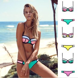 Wholesale Two Pieces Swimsuits - Womens Push Up Bikini Set Swimsuit Two Piece Women Triangle Bikini Set Swimwear Bathing Suit KKA5047