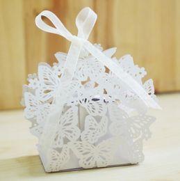 fiori per le scatole di caramelle Sconti Contenitore di regalo della caramella di favore del partito della caramella della scatola di Candy del contenitore di regalo della caramella del nastro del pizzo della scatola di carta della farfalla
