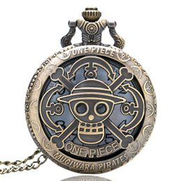 Wholesale Vintage Sale Tags - Half Hunter Hollow Hot Sale One Piece Theme Quartz Pocket Watch Vintage Pendant Clock with Fob Chain Birthday for Children reloj de bolsillo