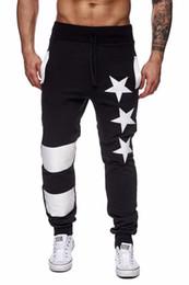 Sterndruckhose für männer online-Herbst Mens Active Sportswear Hosen Sterne gedruckt männliche Hosen Männer Hosen elastische Streifen Hosen Jogginghose Jogger Pantalones