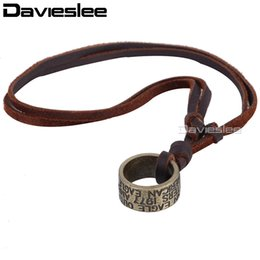 carved horn pendant Promo Codes - whole saleMens Womens Brass Color Carved Circle Pendant Brown Man made Leather Choker Necklace Adjustable Wholesale Gift Jewelry LUN64