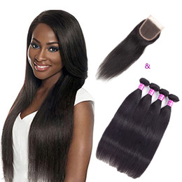 Wholesale Baby Tangle - Virgin Indian Straight Hair Weave Bundles And Lace Closure With Baby Hair 4x4 Lace Closure With Straight Hair Extensions Tangle Free