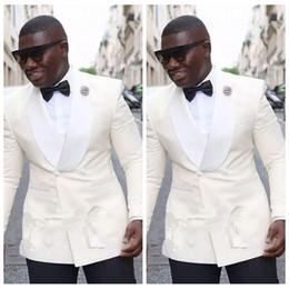 2019 smokings vintage ivoire groom garçons d'honneur avec col châle meilleur homme costume mariage hommes blazer costumes (veste + pantalon) ? partir de fabricateur