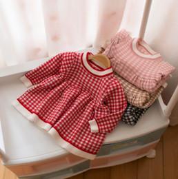 2019 maglioni per neonati Neonate maglione vestito autunno nuovi bambini plaid maglia pullover bambola vestito bambino bambini girocollo manica lunga ponticello A00502 maglioni per neonati economici