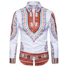 Algodón africano online-Camisa tradicional de Dashiki Africana Hombres Camisa de los hombres de la impresión 3D Camisa de manga larga Slim Fit Camisas masculinas ocasionales del algodón del vestido para hombre
