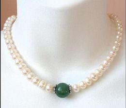 2019 perla di giada verde bella 9-10mm south sea white pearl + green jade necklace 14K Gold Clasp 18