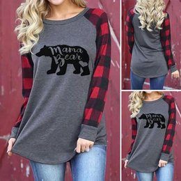 Wholesale T Shirt Printing Ladies - letter print tshirt Women Plaid Raglan Wrist Sleeve Color Block Tees Mama bear Printing Ladies Pullover Round Neck T Shirts Maternity Tops