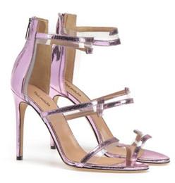 54d95ccda12e5 PVC Strappy High Heeled Nude Sandals Plexi Sliver Dress Shoes Black Women  Summer Shoes Purple Ladies Stiletto Heels with Zipper