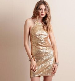 Wholesale xs gold bodycon dress - Sexy hanging neck, bare back sequins, dresses, girdles, A pendant Unique collar design to highlight clavicle lines free shipping