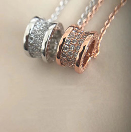 Wholesale italy gold necklace - Diamond spring pendant necklace Italy Zero1 Small Waist Full Diamond luxury Necklace Spring Screw pendant Woman wedding party with box