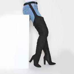 GIRLPOPS женская интернет-знаменитость черная замша над коленом загрузки молния осень зима толстые каблуки обувь острым носом 2018 новое прибытие от