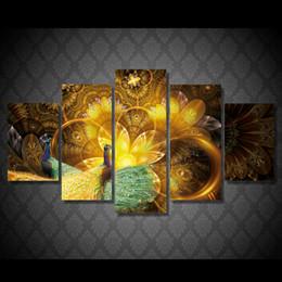 Картины павлина онлайн-Плакат настенный Art Frame Modular 5 Pieces Золотой павлин Цветочный холст Картины Животный узор Картинки для жизни Декорация детской комнаты