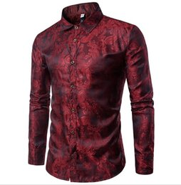 Wholesale Bussiness Casual - High quality Red Gold Purple Blue men's embroidery dress shirt Fashion Slim Wedding Party Bussiness Male Long Sleeve Shirts