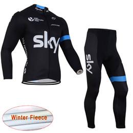 Wholesale Sky Long Sleeve Cycling Jersey - SKY team Cycling Winter Thermal Fleece jersey (bib) pants sets outdoor Long Sleeve Thermal Windproofr Running Bike Sportswear Gel Pad C1306