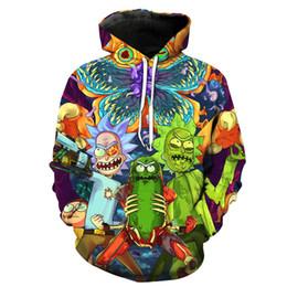 Wholesale Harajuku Sweatshirts - 3D Rick And Morty Hoodies Sweatshirt Men Women 2018 Funny Cartoon Rick Print Hoodie Sweatshirt Mens Harajuku Hip Hop Streetwear