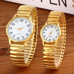 Wholesale Coupling Flexible - Wholesale- Luxury Men Women Fashion Gold Round Wristwatches Couple Flexible Stretch Band Quartz Watches