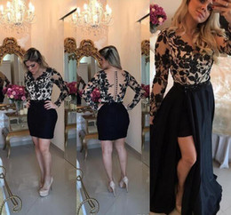 Wholesale Sexy Semi - 2018 Cheap Sheath Cocktail Dress Lace Appliques Long Sleeves Semi Club Wear Homecoming Graduation Party Gown Plus Size Custom Made