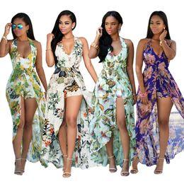 Wholesale Maxi Dresses Designs - New Design Bohemian Maxi Rompers Summer Dresses For Women 2018 Halter Neck Plus Size Printed Chiffon Dresses Sexy Backless Split
