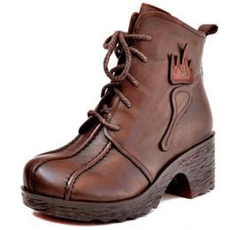 Botas de coxa vintage on-line-Promoção Chegada Nova Designer de Mulheres Robusto Coxa De Salto Alto Rendas Até Martin Botas Sapatos Botas de Inverno Do Vintage Rodada Toe Ankle Boots