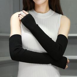 aquecedores de mão sem dedos Desconto Mão Quente Feminino Fingerless Braços Aquecedores Sólidos Braço Manga Cuff Luvas De Malha De Lã Para A Mulher Inverno Manter Quente Alta Elastic