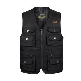 Wholesale Cargo Jackets - Wholesale- Casual Men Vest Cotton Pockets Leisure Cargo Sleeveless Jackets heavy male Waistcoat Vests XL-4XL,Free Shipping