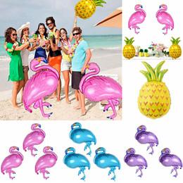 Wholesale large pineapple - 4 styles Aluminum flamingo pineapple film balloon large Cartoon balloon for Festive decoration birthday party Decoration ball AAA540