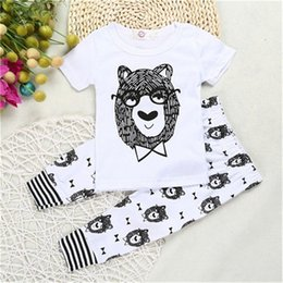 Wholesale Baby Boy Bowtie - INS Baby Boys Clothing Set Babies Bowtie bear Beast Printed T Shirt +Pants Infant Kids Clothing Set Wholesale