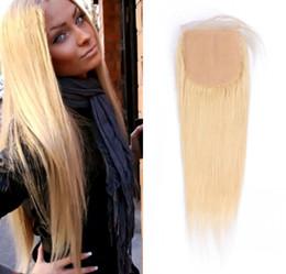 Fermeture de base de soie en Ligne-Malaisie Blonde Cheveux Droite Soie Base Fermeture Moyen Libre 3 Partie Way # 613 Cheveux Humains Haut Fermetures FDshine