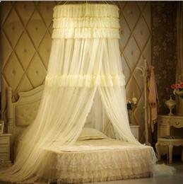 Deckennetz online-Abgehängte Decke Luxus Roman Hung Kuppel Moskitonetz Baldachin Netting Spitze runden Moskitonetz Vorhang für Bettwäsche