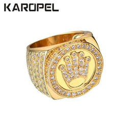 joyas de oro 18k Rebajas Karopel Hip Hop Bling Jewelry King Crown regalo del día del padre para hombres Bling Bling Micro Pave CZ anillo del circón del color del oro